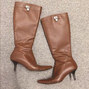 A. testoni tall leather boots 35 1/2